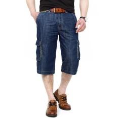 AFSJEEP Mens Musim Panas Outdoor Multi-pocket Longgar Lurus untuk Pesta Bang Pendek Kargo Denim Shorts Dark Blue