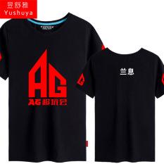 AG Rumbai Biru Super Pria Lengan Pendek Tim Baju Seragam Tim Kaus (Biru Bunga Hitam