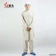 AGAPEON Cotton Baju Melayu Suit For Men Stand Collar Wth Buttons (Creamy White) - intl