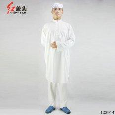 Agapeon Katun Baju Melayu Cocok untuk Pria Berdiri Kerah dengan Tombol (Putih)-Internasional
