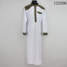 Spesifikasi Agapeon Jubah Cotton Untuk Pria Berdiri Kerah Dengan Tombol Lengan Panjang Putih Intl Terbaik