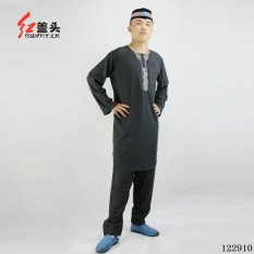 AGAPEON Cotton & Linen Baju Melayu Cocok untuk Pria Kerah Bulat dengan Bordir (Hitam)-Intl