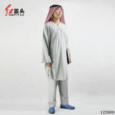 AGAPEON Cotton & Linen Baju Melayu Cocok untuk Pria Kerah Bulat dengan Bordir (Grey)-Intl