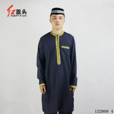 AGAPEON Cotton&Linen Baju Melayu Suit For Men Round Collar Wth Golden Embroidery (Blue) - intl