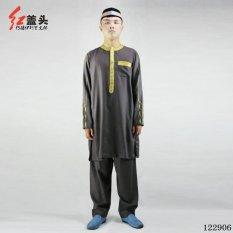 AGAPEON Cotton & Linen Baju Melayu Cocok untuk Pria Kerah Bulat dengan Bordir Emas (Abu-abu Gelap)-Intl