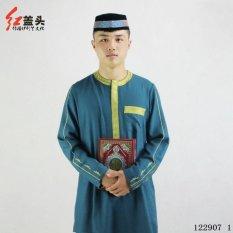 AGAPEON Cotton & Linen Baju Melayu Cocok untuk Pria Kerah Bulat dengan Bordir Emas (Danau Biru)-Intl