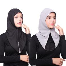 Diskon Besaragapeon Muslim Jilbab Chiffon Double Side Instan Tudung Black Light Grey