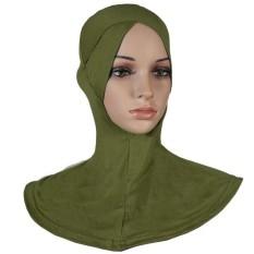 Agapeon Muslim Batin Jilbab Tutup Leher Bagian Dalam Katun Tunggal Silang Headarmy Hijau-Internasional