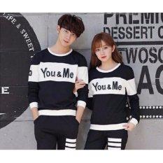 Agen Baju Couple Murah - Sweater Kapel Online - Pakaian Pasangan - Baju Sama Lp You Me Hitam