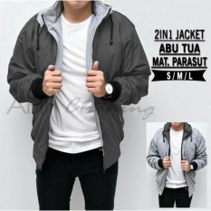 AHF Jaket Parasut Fleece 2in1 Bolak Balik - Jaket Pria - Abu Tua