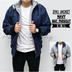 Jual Ahf Jaket Parasut Fleece 2In1 Bolak Balik Jaket Pria Biru Navy Murah Di Jawa Barat