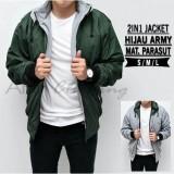 Spesifikasi Ahf Jaket Parasut Fleece 2In1 Bolak Balik Jaket Pria Hijau Army Yang Bagus Dan Murah