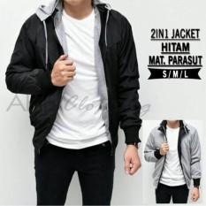 AHF Jaket Sweater Parasut Fleece Hoodie Bolak Balik 2in1 - Jaket Pria - Hitam