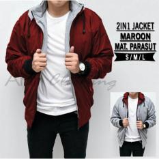 AHF Jaket Sweater Parasut Fleece Hoodie Bolak Balik 2in1 - Jaket Pria - Merah Maroon