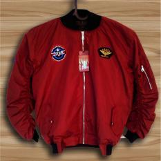 Spesifikasi Ahf Jaket Pilot Bomber Pria Merah Maroon Bagus