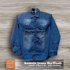 Promo Ahf Kemeja Panjang Denim Jeans Pria Biru Tua Dark Blue Murah