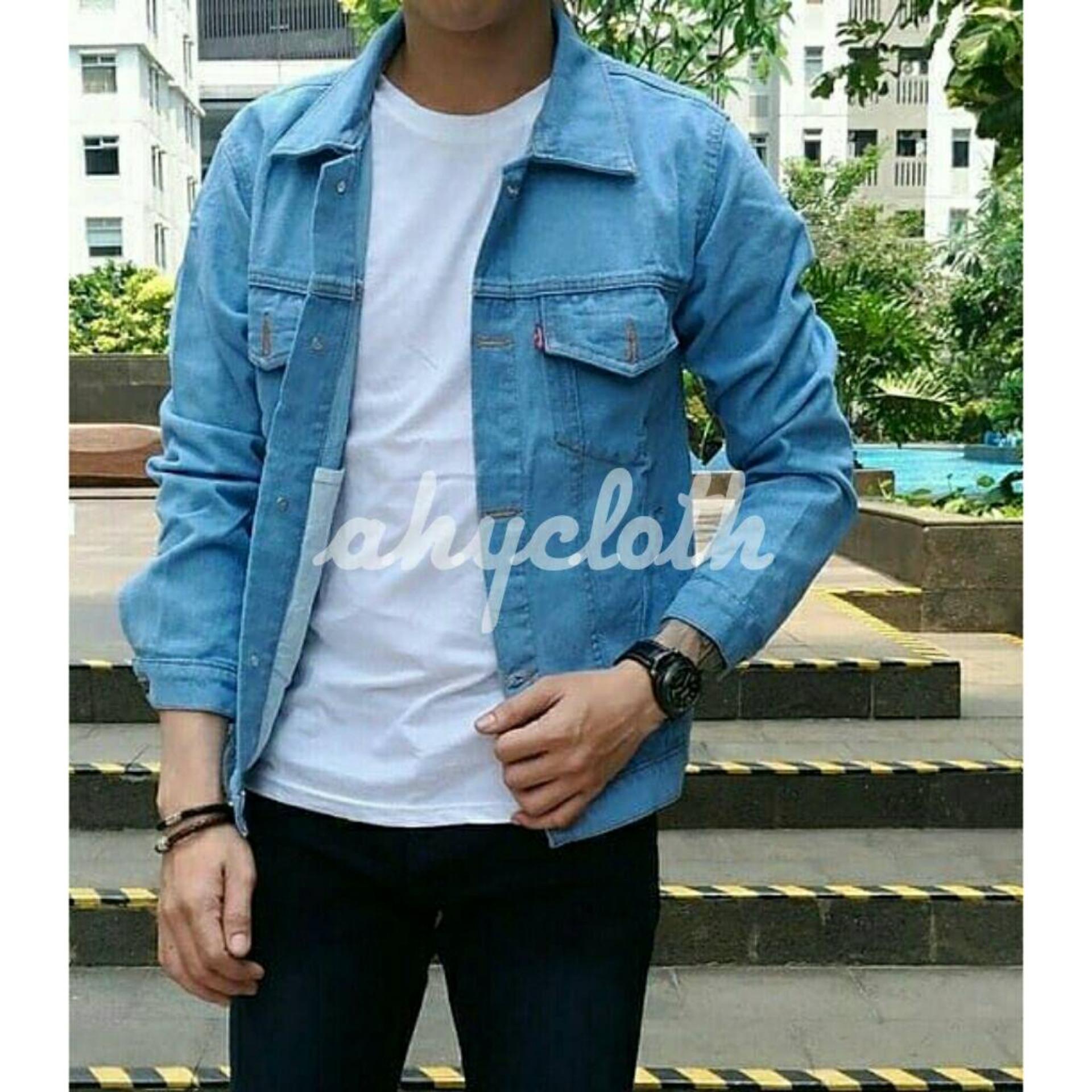 Harga Diskon Jaket Jeans Denim Fit Pria White Putih Premium Casual