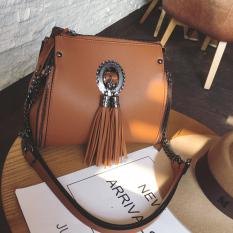 Ai Amoy Korea Fashion Style Perempuan Rantai Perhiasan Ember Selempang Miring Tas Kecil Bahu Tas Ransel Ls2088 Tempat Cokelat Asli