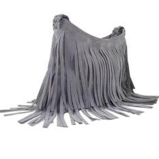 Beli Ai Home Fashion Wanita Kulit Rumbai Pinggiran Casing Bahu Tas Serbi Abu Abu Gelap Cicilan