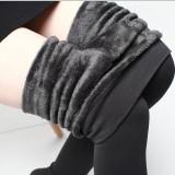 Spesifikasi Aijiniao Tambah Beludru Perempuan Pakaian Luar Celana Highwaist Legging Abu Abu Baju Wanita Celana Wanita