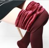 Promo Aijiniao Celana Legging Wanita Dalaman Bludru Pinggang Tinggi Warna Merah Anggur Oem Terbaru