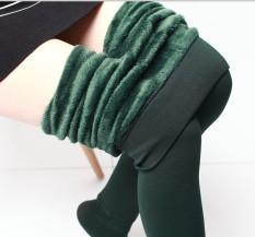 Harga Aijiniao Tambah Beludru Perempuan Pakaian Luar Celana Highwaist Legging Hijau Gelap Baju Wanita Celana Wanita New