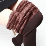 Jual Aijiniao Tambah Beludru Perempuan Pakaian Luar Celana Highwaist Legging Kopi Warna Baju Wanita Celana Wanita Termurah