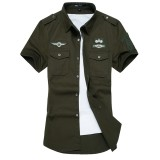 Promo Air Force Embroidery Mens Short Sleeve Casual Shirts Fashion Summer Cotton Shirt Men Social Intl Akhir Tahun
