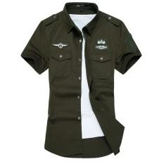 Review Air Force Embroidery Mens Short Sleeve Casual Shirts Fashion Summer Cotton Shirt Men Social Intl Terbaru