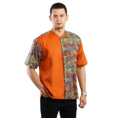 Toko Aitana Btk Mg 158102 Ss Baju Koko Batik Pria Orange Jawa Barat