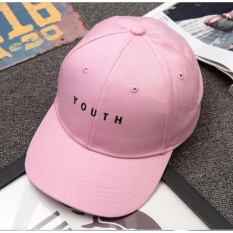 AIUEO Topi Pria Wanita Baseball Korea Fashion Unisex Hip-Hop Style Lovers Adjustable Snapback Cotton Cap YOUTH - Pink