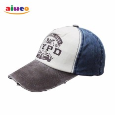 AIUEO Topi Pria Wanita Fashion Outdoors Unisex Letter Retro Fashion Vintage Caps Baseball Golf Cotton Adjustable Headpiece NYPD - Grey White Blue