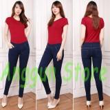 Aj Anggun Jeans Celana Leging Wanita Denim Premium Quality Pinggang Karet Dongker Size 27 34 Dki Jakarta Diskon