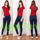 Jual Aj Anggun Jeans Celana Leging Wanita Denim Premium Quality Pinggang Karet Dongker Size 27 34 Branded