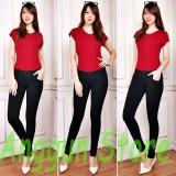 Beli Aj Anggun Jeans Celana Leging Wanita Denim Premium Quality Pinggang Karet Hitam Size 27 34 Denim Online