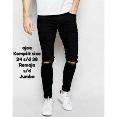 Ajoe Celana Jeans Pria Sobek Ripped / Celana Jeans hitam pria Strecth / Celana panjang Pria