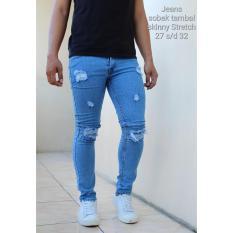 Ajoe Celana Jeans Pria Sobek Ripped PAKAI LAPISAN / Jeans Pria Bioblitz Sobek Skinny Stretch - Jeans Pria Skibby Biru Navy / Biru dongker DENGAN LAPISAN