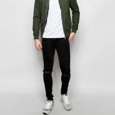 Ajs Celana Jeans Pria Sobek /Jeans Pria Ripped Bahan Strecth Model Skinny Warna Hitam Ukuran Ready 27 - 32 Murah