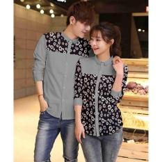 AK-388 Couple Flonita -Grey Katun Strech Combi Batik Best Quality Akiko Fashion