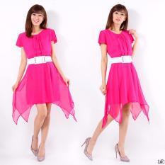 AK - Beauty Dress Veronika Pink / Atasan Midi Dress Wanita Korea Elegant / bahan Ceruty + Furing + Belt Best Quality Akiko Fashion