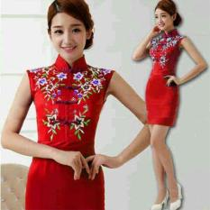 AK - Dress Cheongsam Ying ying - Red Katun Strech Combi Full Bordir Best Quality Akiko Fashion