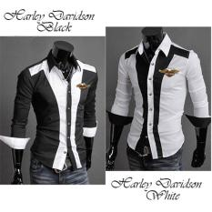 AK - Kemeja Harley Davidson - Black White Katun Strech Combi Bordir Harley Davidson Model Slim Best Quality Akiko Fashion