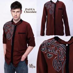 AK - Kemeja Koko Pasha - Chocolate combi Bordir Akiko Fashion