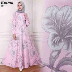 AK - Real Pict Maxy Emma (08) - Pink Katun Motif Asli / Atasan Dress Gamis Maxy Wanita Muslim Murah Adem Best Quality Akiko Fashion