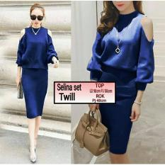 Spesifikasi Ak Stelan Set Selina Navy Twill Top Akiko Fashion Online
