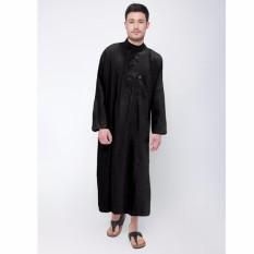 Al-Isra Jubah SALMAN Pakaian Gamis POLOS Pria Muslim (Hitam)