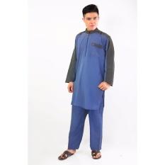 Harga Al Isra Setelan Gamis Al Siraj Pakaian Gamis Muslim Pria Biru Termahal