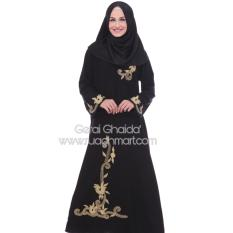 Al Khatib Abaya Gamis Baju Muslim Detty Bordir Gold Jetblack Hitam