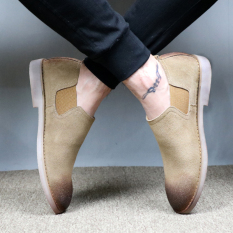 Ala Inggris Kulit Suede Muda Bernapas Sepatu Pria Sepatu Trendi (Gosok Kokas Beige)