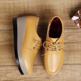 Ala Inggris Musim Gugur Sepatu Kulit Sepatu Wedges Kuning Tambah Beludru Sepatu Wanita Flat Shoes Murah